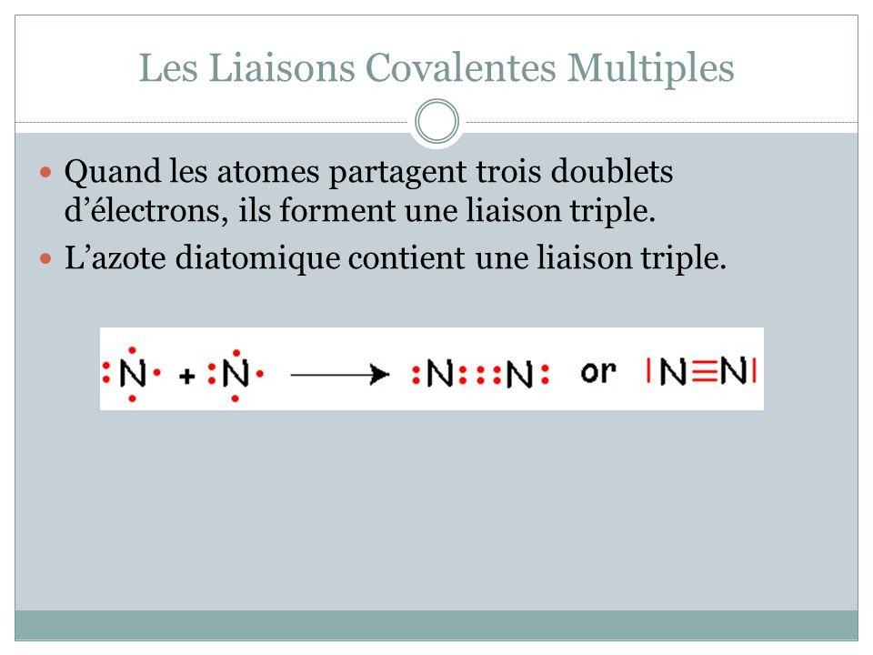 Les Liaisons Covalentes Multiples Quand les atomes partagent trois doublets délectrons, ils forment une liaison triple. Lazote diatomique contient une