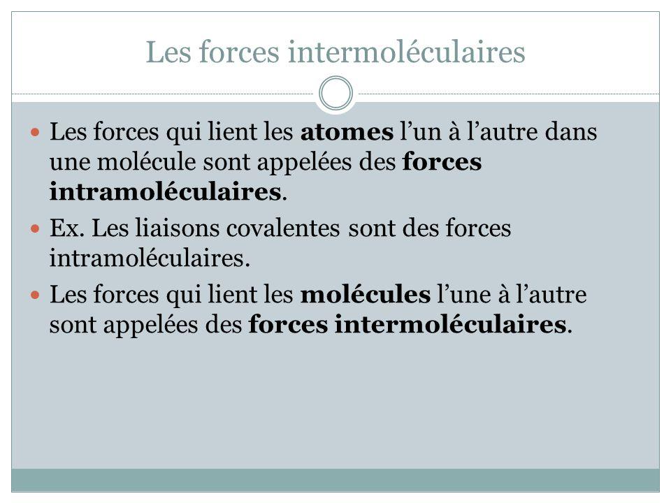 Les forces intermoléculaires Les forces qui lient les atomes lun à lautre dans une molécule sont appelées des forces intramoléculaires. Ex. Les liaiso