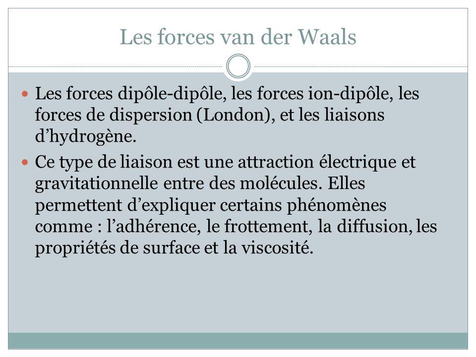 Les forces van der Waals Les forces dipôle-dipôle, les forces ion-dipôle, les forces de dispersion (London), et les liaisons dhydrogène. Ce type de li
