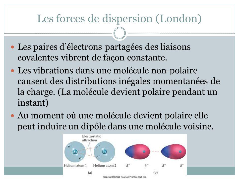Les forces de dispersion (London) Les paires délectrons partagées des liaisons covalentes vibrent de façon constante. Les vibrations dans une molécule