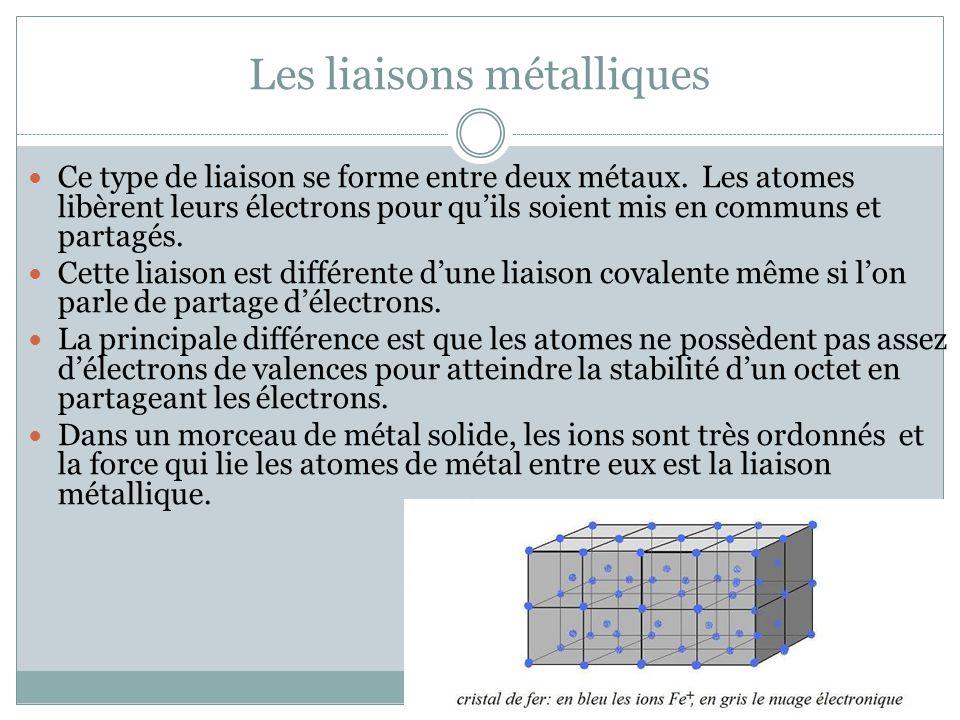 Les liaisons métalliques Ce type de liaison se forme entre deux métaux. Les atomes libèrent leurs électrons pour quils soient mis en communs et partag