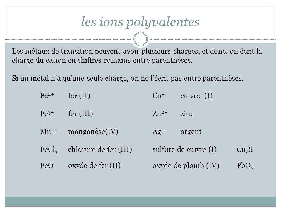 les ions polyvalentes Les métaux de transition peuvent avoir plusieurs charges, et donc, on écrit la charge du cation en chiffres romains entre parent