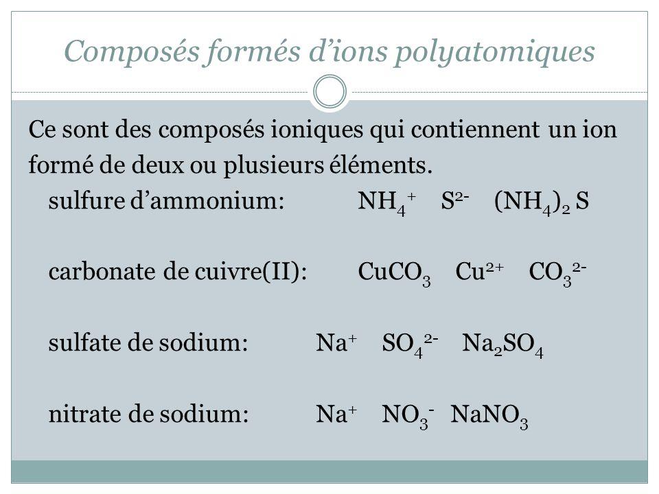 Composés formés dions polyatomiques Ce sont des composés ioniques qui contiennent un ion formé de deux ou plusieurs éléments. sulfure dammonium: NH 4