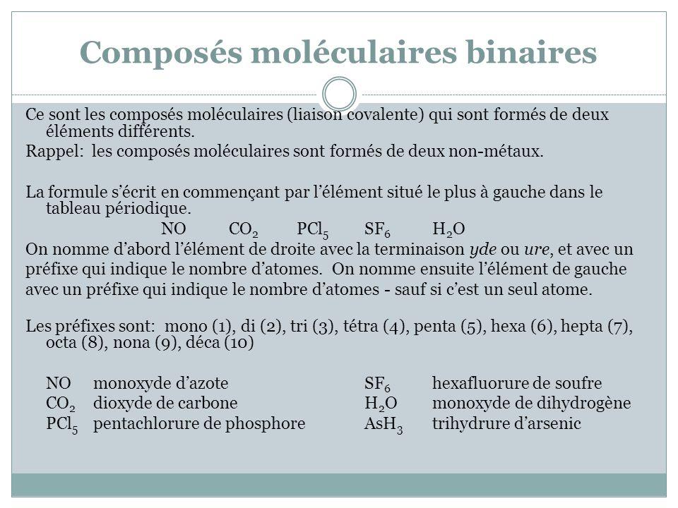 Composés moléculaires binaires Ce sont les composés moléculaires (liaison covalente) qui sont formés de deux éléments différents. Rappel: les composés