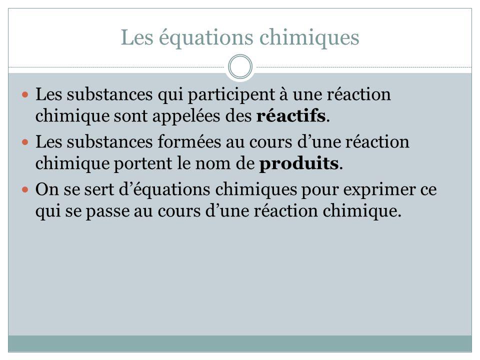 Les équations chimiques Les substances qui participent à une réaction chimique sont appelées des réactifs. Les substances formées au cours dune réacti