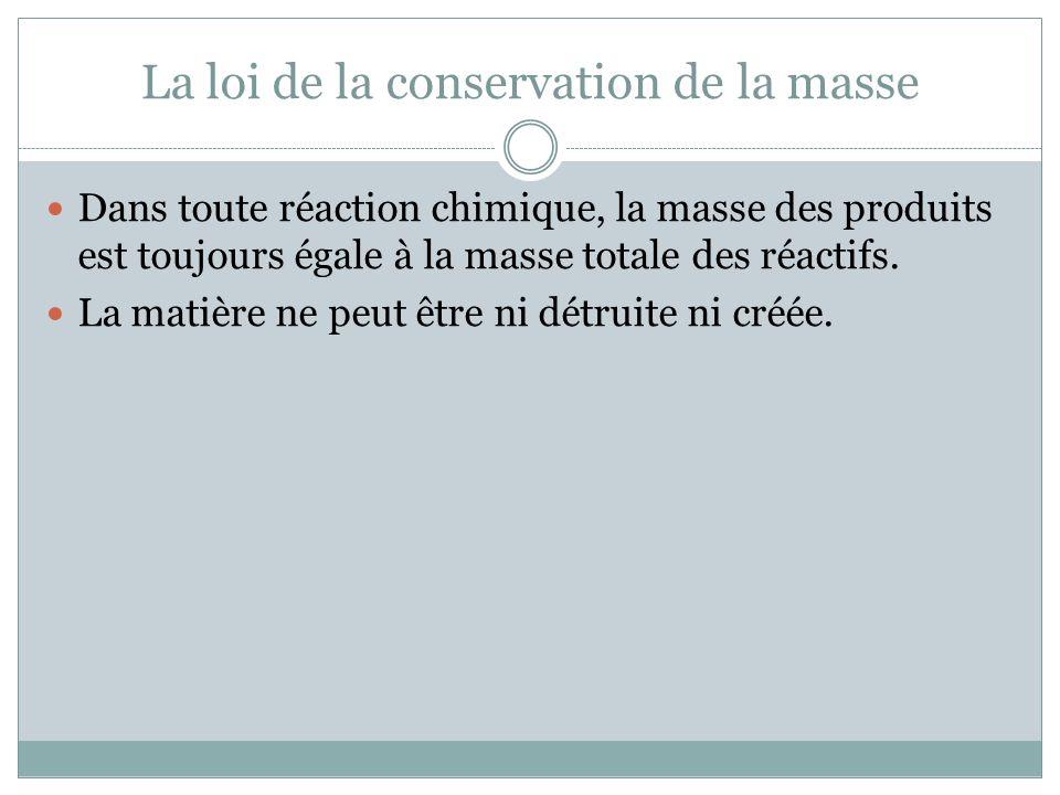 La loi de la conservation de la masse Dans toute réaction chimique, la masse des produits est toujours égale à la masse totale des réactifs. La matièr