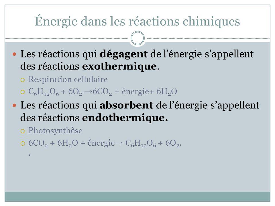 Énergie dans les réactions chimiques Les réactions qui dégagent de lénergie sappellent des réactions exothermique. Respiration cellulaire C 6 H 12 O 6