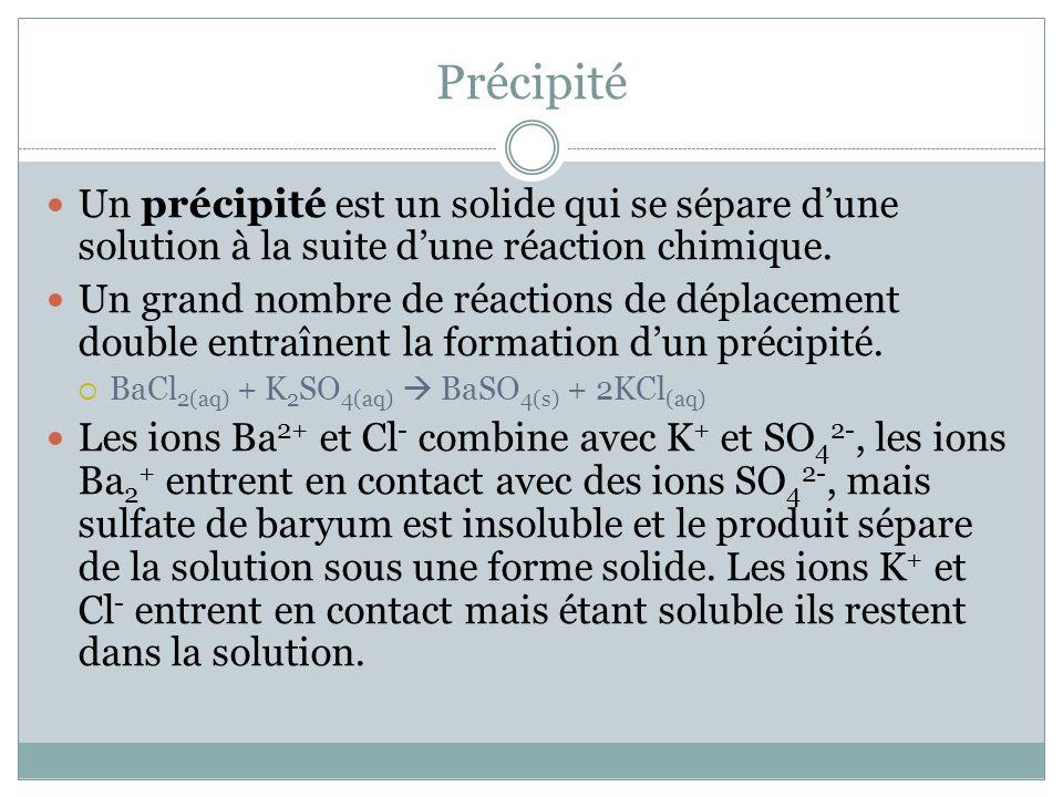 Précipité Un précipité est un solide qui se sépare dune solution à la suite dune réaction chimique. Un grand nombre de réactions de déplacement double