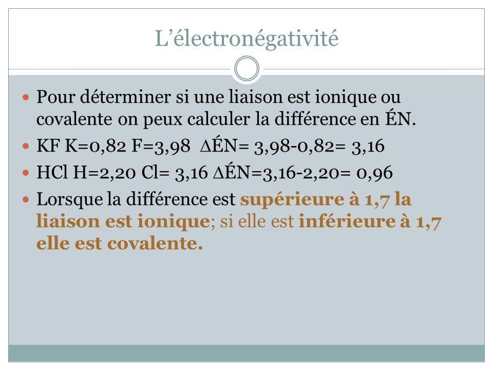 Lélectronégativité Pour déterminer si une liaison est ionique ou covalente on peux calculer la différence en ÉN. KF K=0,82 F=3,98 ÉN= 3,98-0,82= 3,16