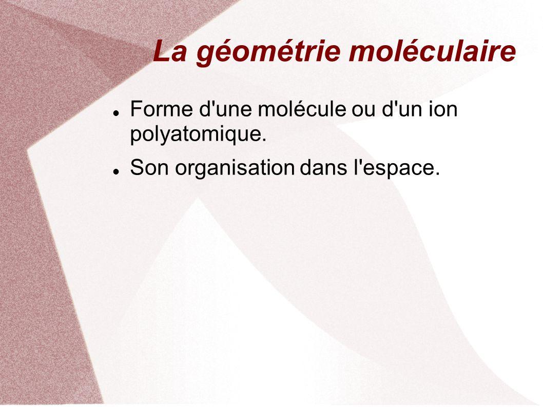 La géométrie moléculaire Forme d une molécule ou d un ion polyatomique.