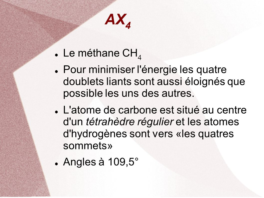 AX 4 Le méthane CH 4 Pour minimiser l énergie les quatre doublets liants sont aussi éloignés que possible les uns des autres.
