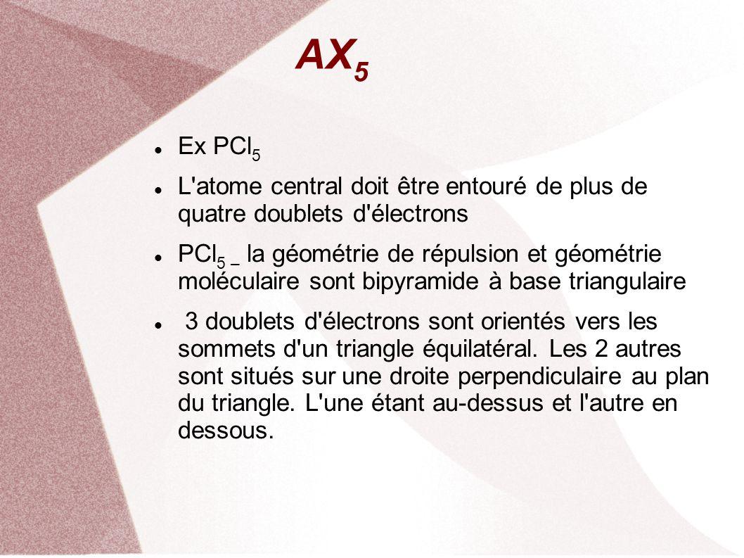 AX 5 Ex PCl 5 L atome central doit être entouré de plus de quatre doublets d électrons PCl 5 – la géométrie de répulsion et géométrie moléculaire sont bipyramide à base triangulaire 3 doublets d électrons sont orientés vers les sommets d un triangle équilatéral.
