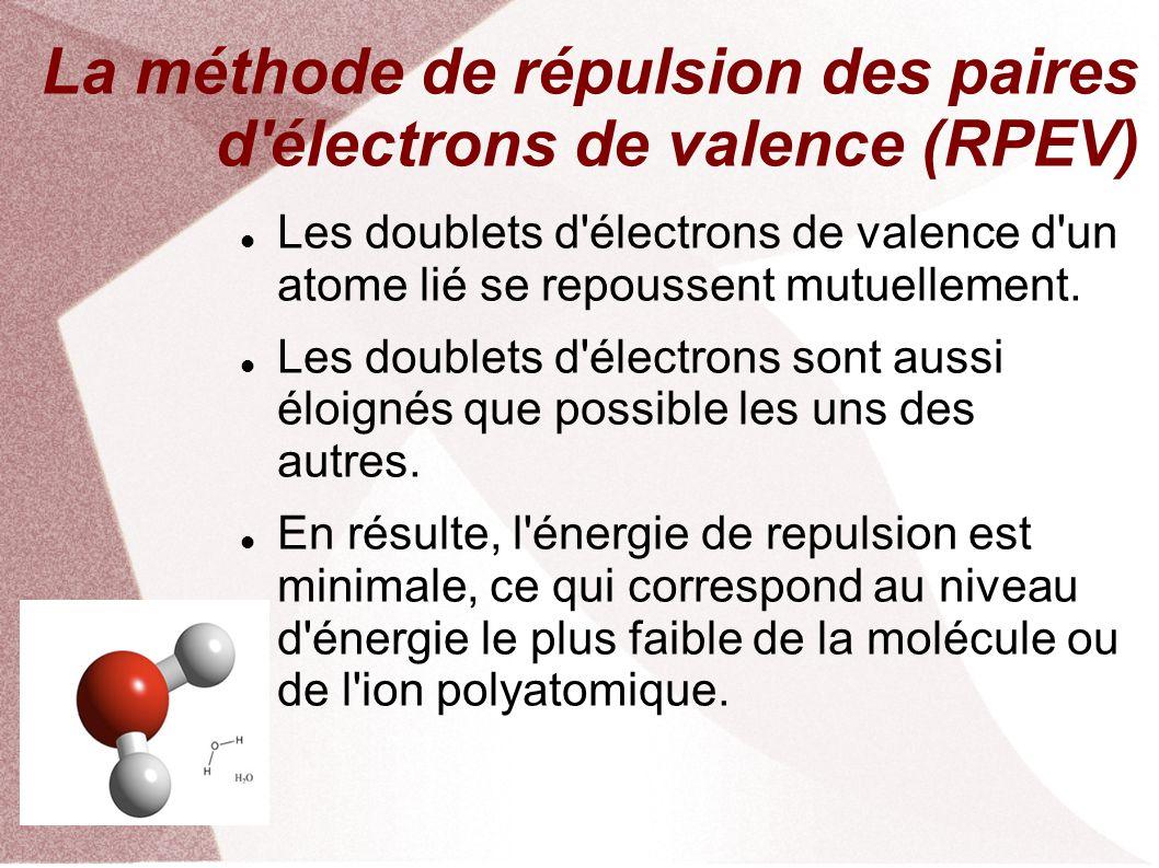La méthode de répulsion des paires d électrons de valence (RPEV) Les doublets d électrons de valence d un atome lié se repoussent mutuellement.