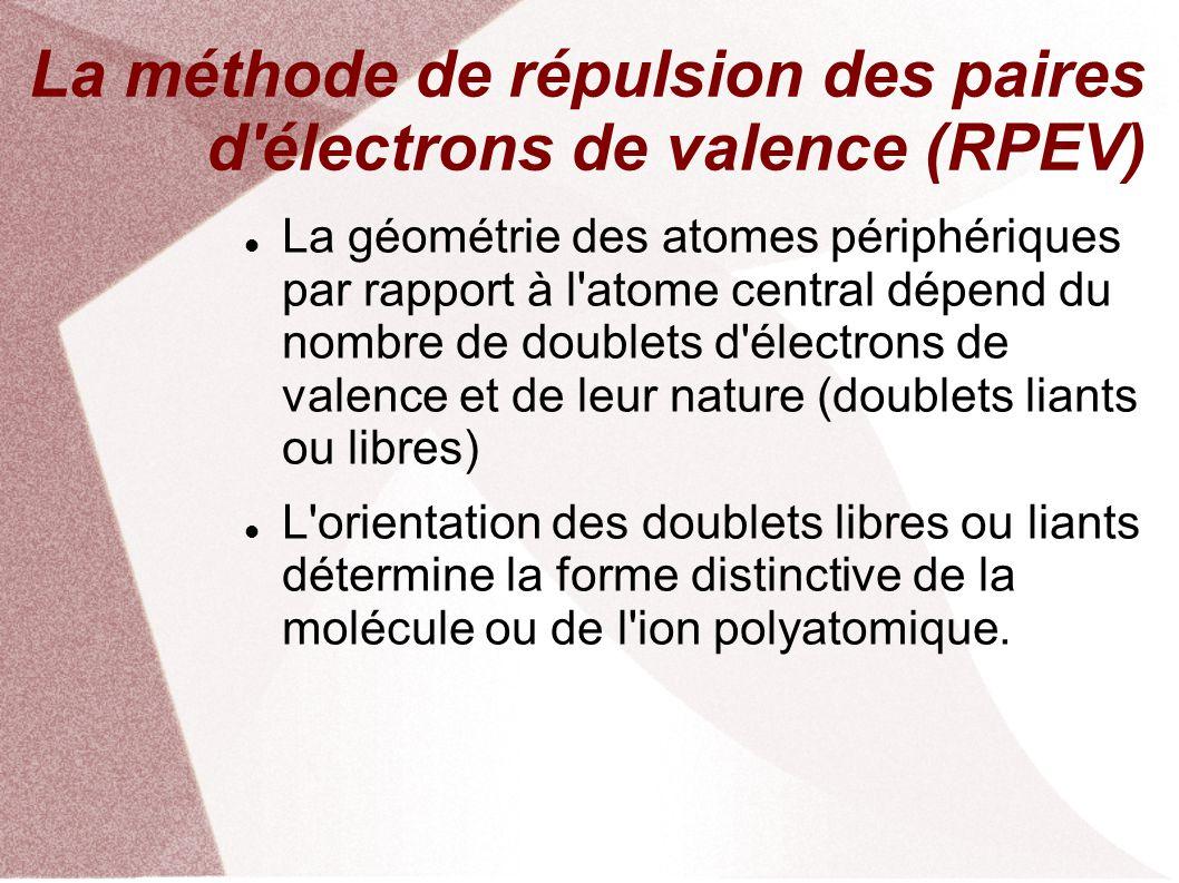 La méthode de répulsion des paires d électrons de valence (RPEV) La géométrie des atomes périphériques par rapport à l atome central dépend du nombre de doublets d électrons de valence et de leur nature (doublets liants ou libres) L orientation des doublets libres ou liants détermine la forme distinctive de la molécule ou de l ion polyatomique.