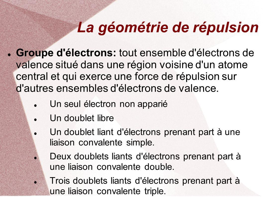 La géométrie de répulsion Groupe d électrons: tout ensemble d électrons de valence situé dans une région voisine d un atome central et qui exerce une force de répulsion sur d autres ensembles d électrons de valence.