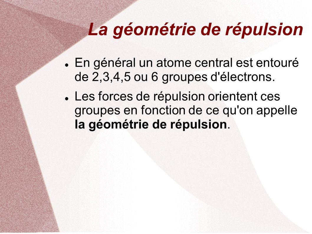 La géométrie de répulsion En général un atome central est entouré de 2,3,4,5 ou 6 groupes d électrons.