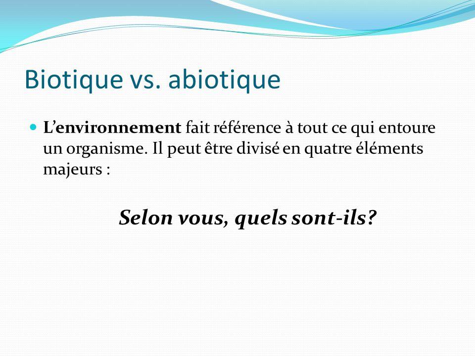 Biotique vs. abiotique Lenvironnement fait référence à tout ce qui entoure un organisme. Il peut être divisé en quatre éléments majeurs : Selon vous,
