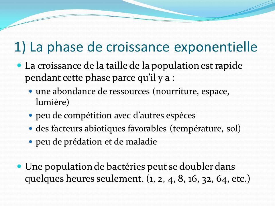 1) La phase de croissance exponentielle La croissance de la taille de la population est rapide pendant cette phase parce quil y a : une abondance de r