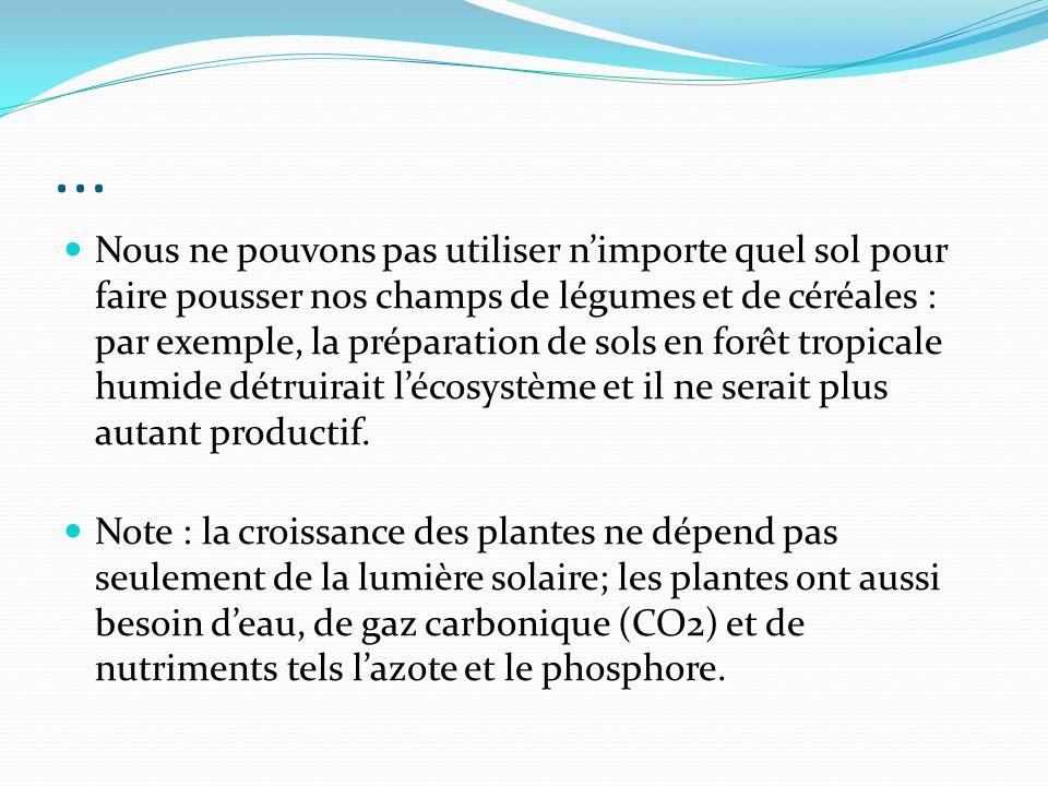 ... Nous ne pouvons pas utiliser nimporte quel sol pour faire pousser nos champs de légumes et de céréales : par exemple, la préparation de sols en fo