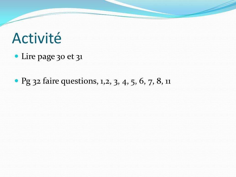 Activité Lire page 30 et 31 Pg 32 faire questions, 1,2, 3, 4, 5, 6, 7, 8, 11