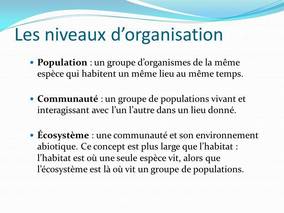 Les niveaux dorganisation Population : un groupe dorganismes de la même espèce qui habitent un même lieu au même temps. Communauté : un groupe de popu