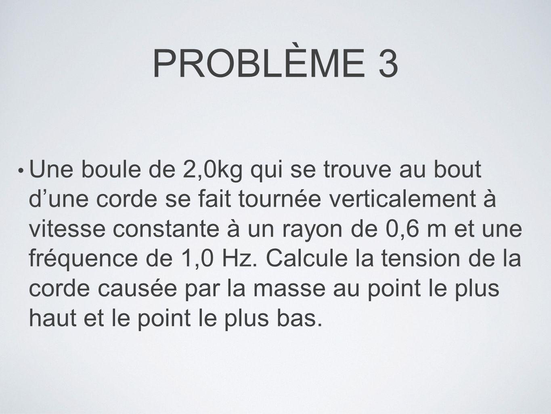 PROBLÈME 3 Une boule de 2,0kg qui se trouve au bout dune corde se fait tournée verticalement à vitesse constante à un rayon de 0,6 m et une fréquence