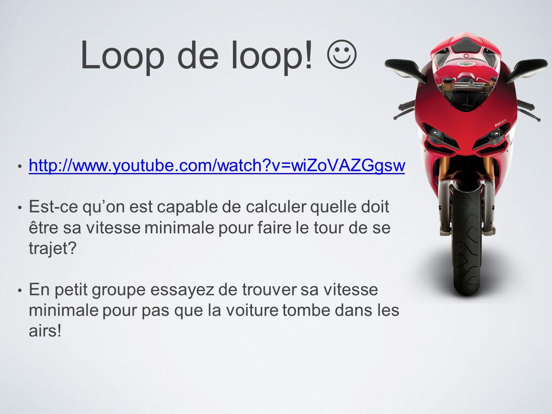 Loop de loop! http://www.youtube.com/watch?v=wiZoVAZGgsw Est-ce quon est capable de calculer quelle doit être sa vitesse minimale pour faire le tour d