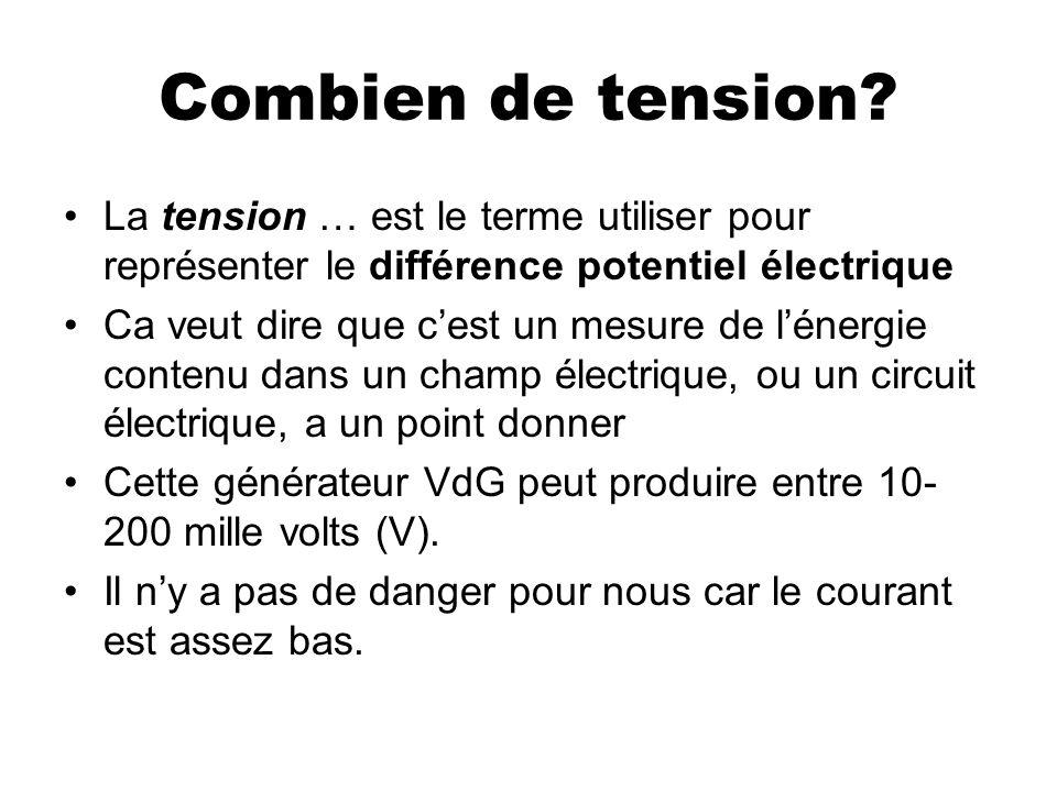 Combien de tension? La tension … est le terme utiliser pour représenter le différence potentiel électrique Ca veut dire que cest un mesure de lénergie