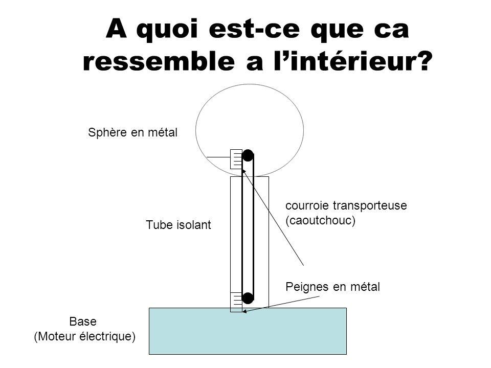 A quoi est-ce que ca ressemble a lintérieur? Base (Moteur électrique) Tube isolant Sphère en métal courroie transporteuse (caoutchouc) Peignes en méta