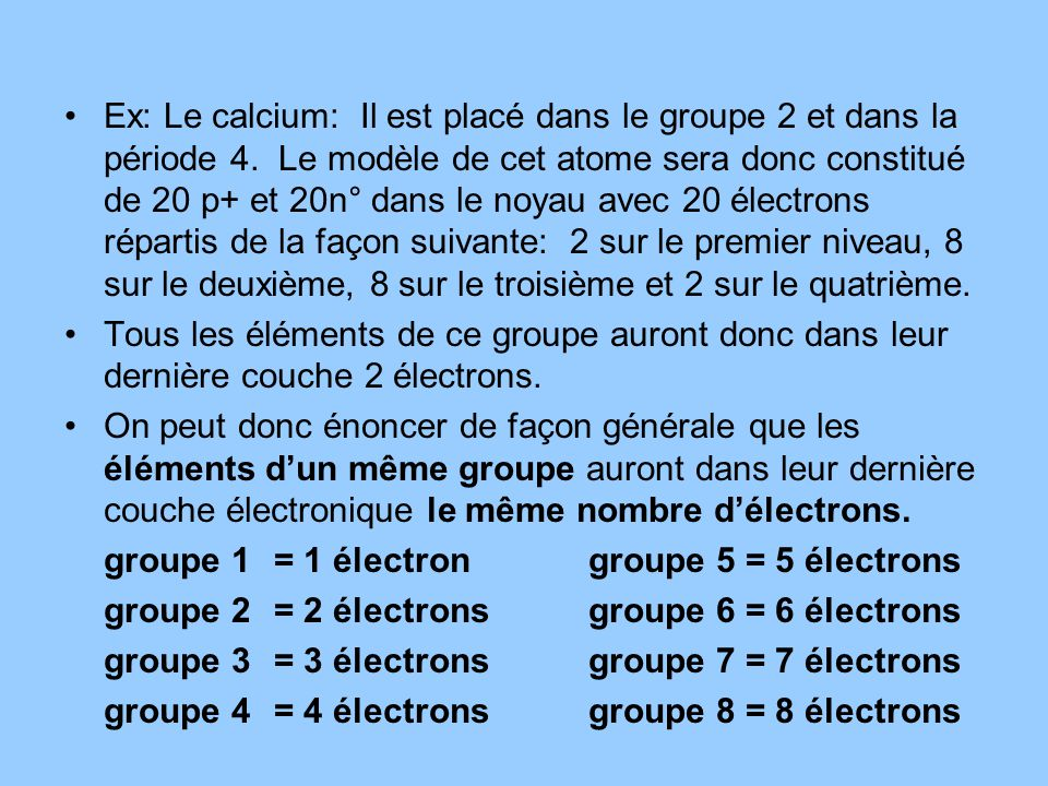 Ex: Le calcium: Il est placé dans le groupe 2 et dans la période 4.