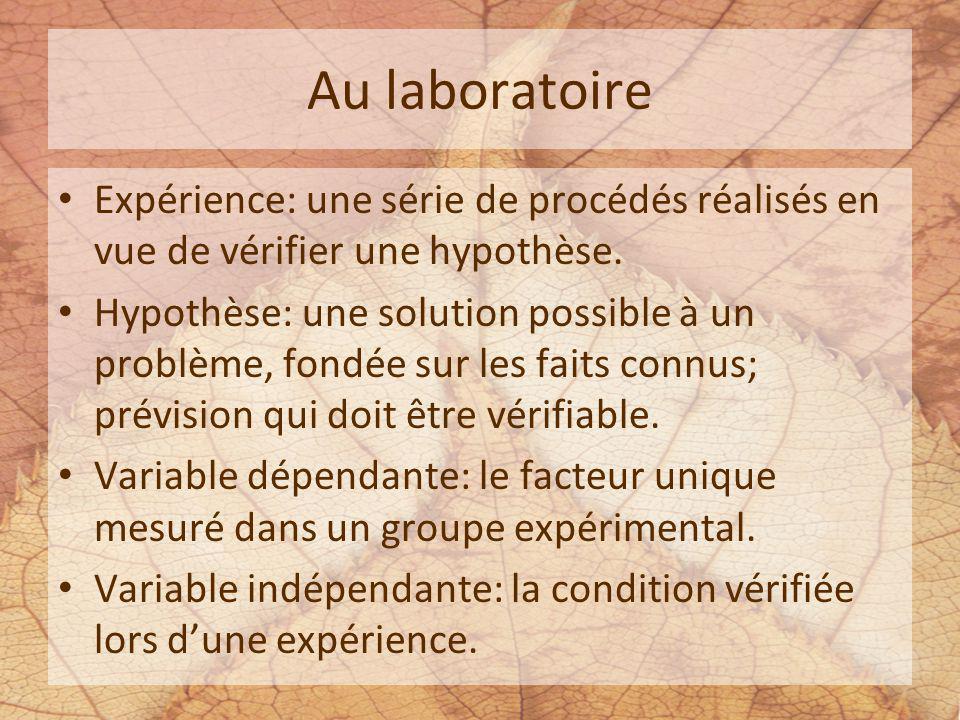 Au laboratoire Expérience: une série de procédés réalisés en vue de vérifier une hypothèse. Hypothèse: une solution possible à un problème, fondée sur