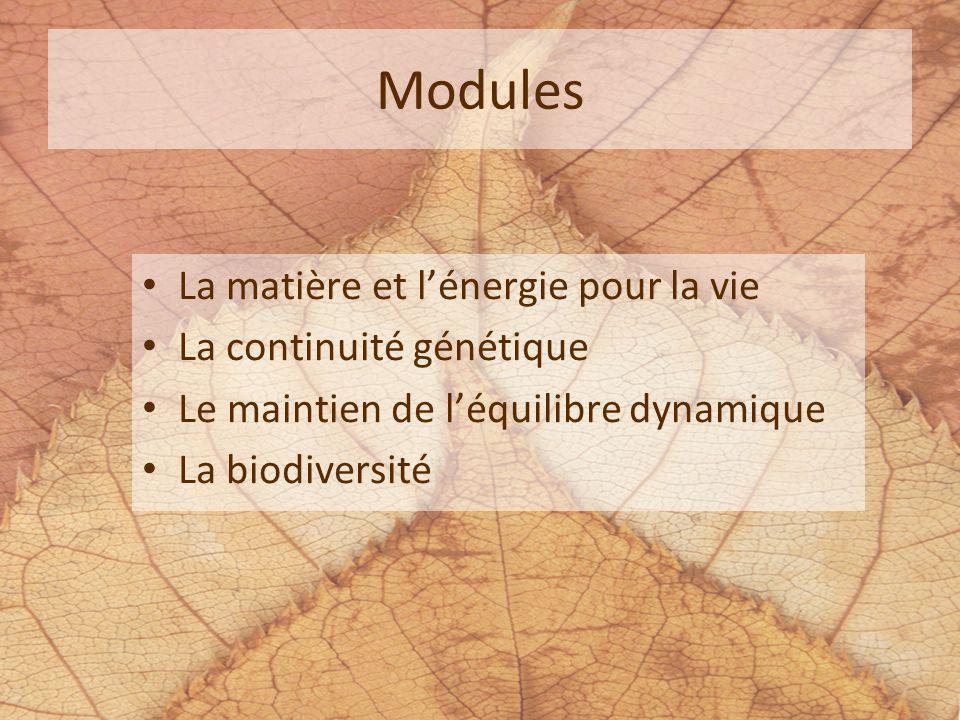 Modules La matière et lénergie pour la vie La continuité génétique Le maintien de léquilibre dynamique La biodiversité