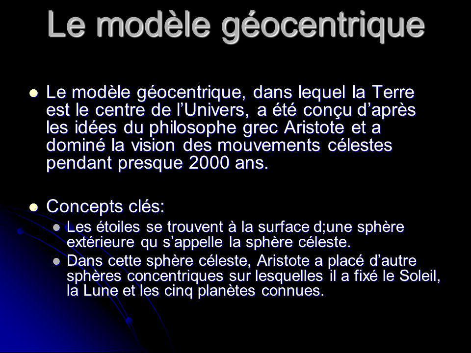 Le modèle géocentrique Le modèle géocentrique, dans lequel la Terre est le centre de lUnivers, a été conçu daprès les idées du philosophe grec Aristot