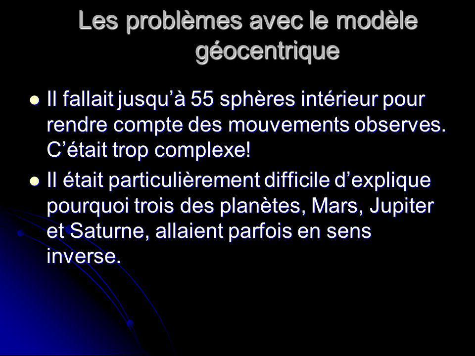 Les problèmes avec le modèle géocentrique Il fallait jusquà 55 sphères intérieur pour rendre compte des mouvements observes. Cétait trop complexe! Il