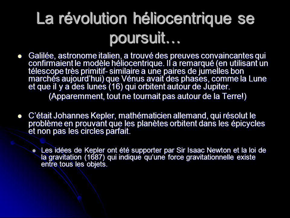 La révolution héliocentrique se poursuit… Galilée, astronome italien, a trouvé des preuves convaincantes qui confirmaient le modèle héliocentrique. Il