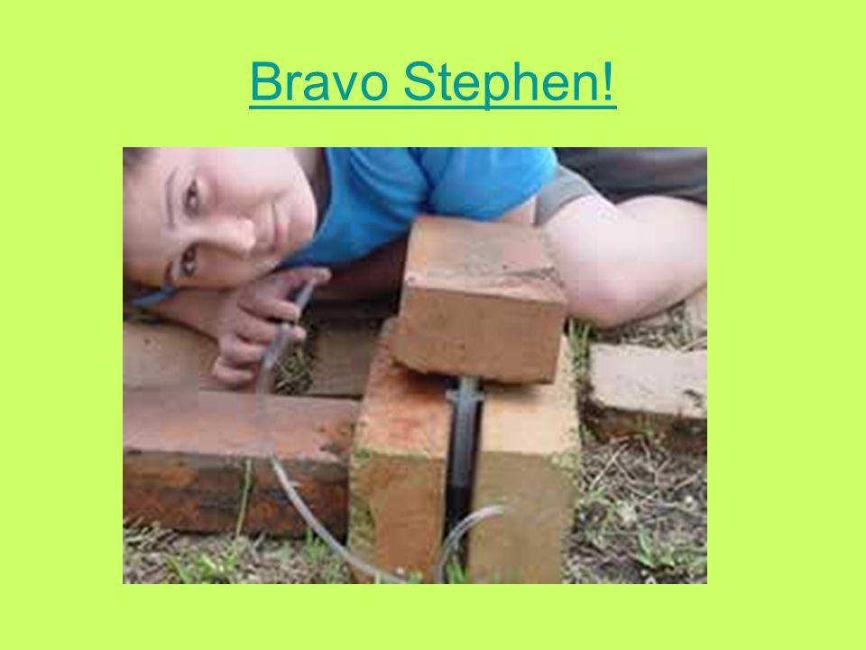 Stephen a une idée! Stephen a décidé de mettre le grand seringue sous la brique cette fois.
