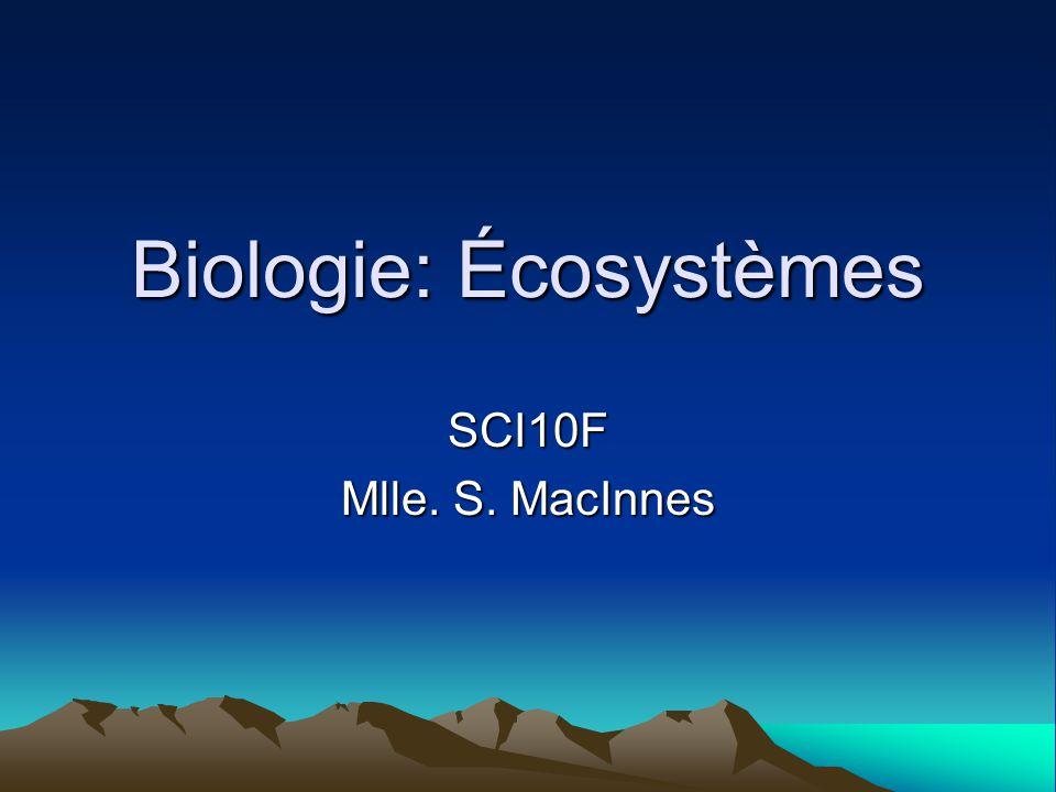 Biologie: Écosystèmes SCI10F Mlle. S. MacInnes