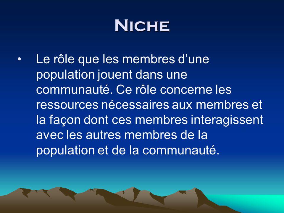 Niche Le rôle que les membres dune population jouent dans une communauté.