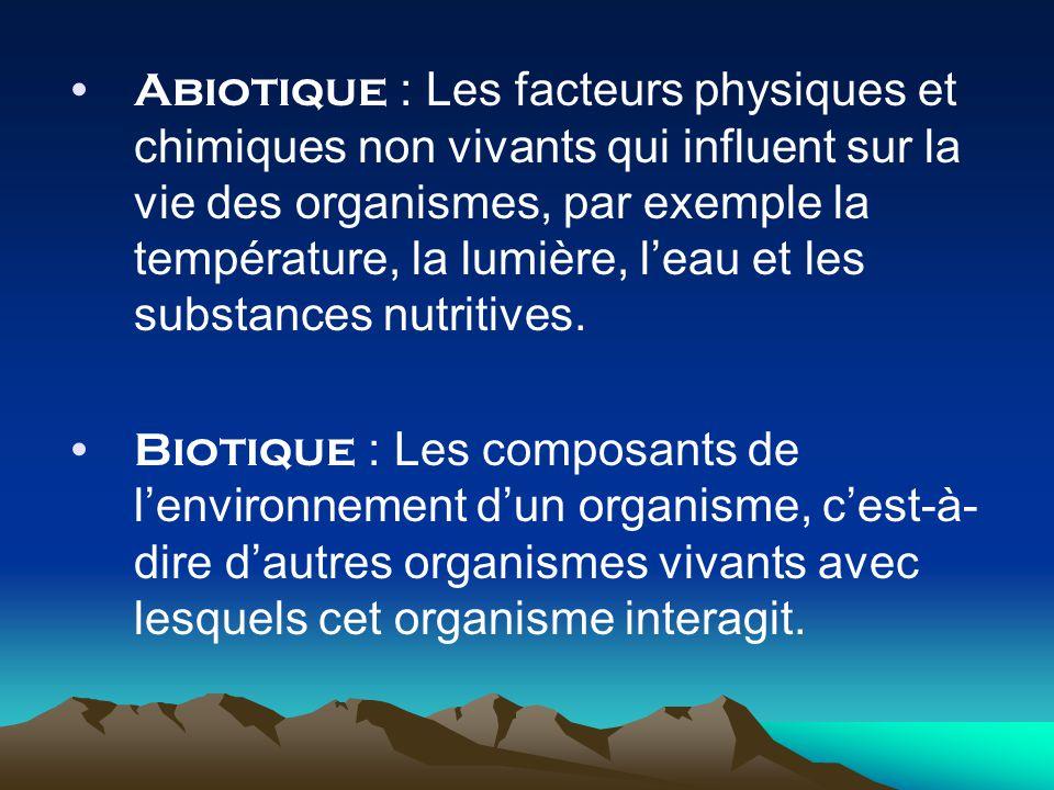 Abiotique : Les facteurs physiques et chimiques non vivants qui influent sur la vie des organismes, par exemple la température, la lumière, leau et les substances nutritives.