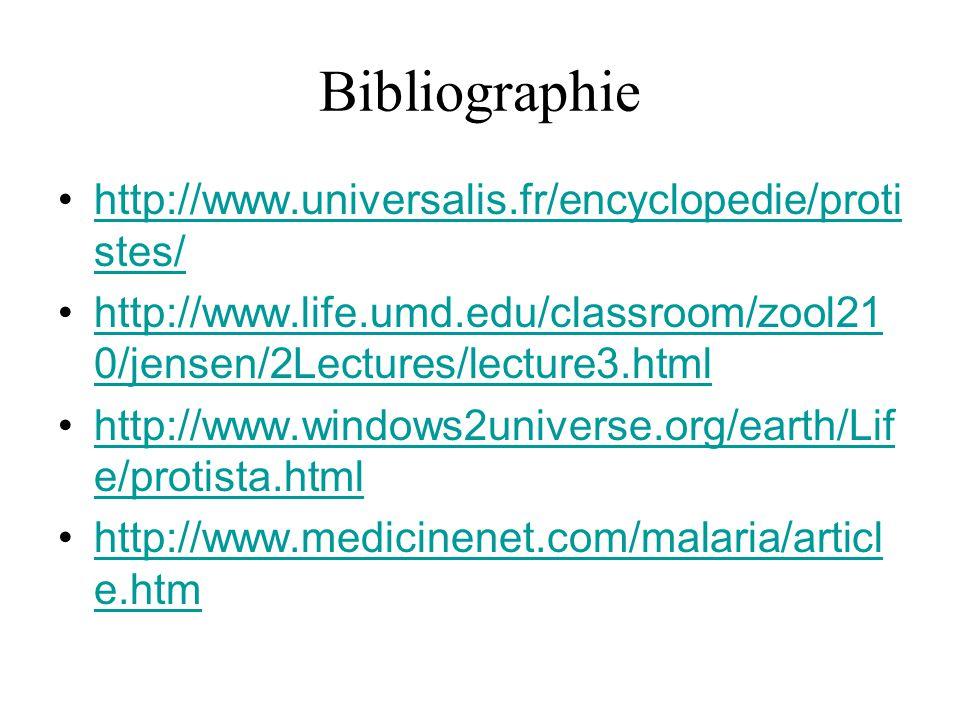 Bibliographie http://www.universalis.fr/encyclopedie/proti stes/http://www.universalis.fr/encyclopedie/proti stes/ http://www.life.umd.edu/classroom/z
