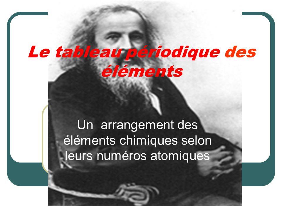 Le tableau périodique des éléments Un arrangement des éléments chimiques selon leurs numéros atomiques