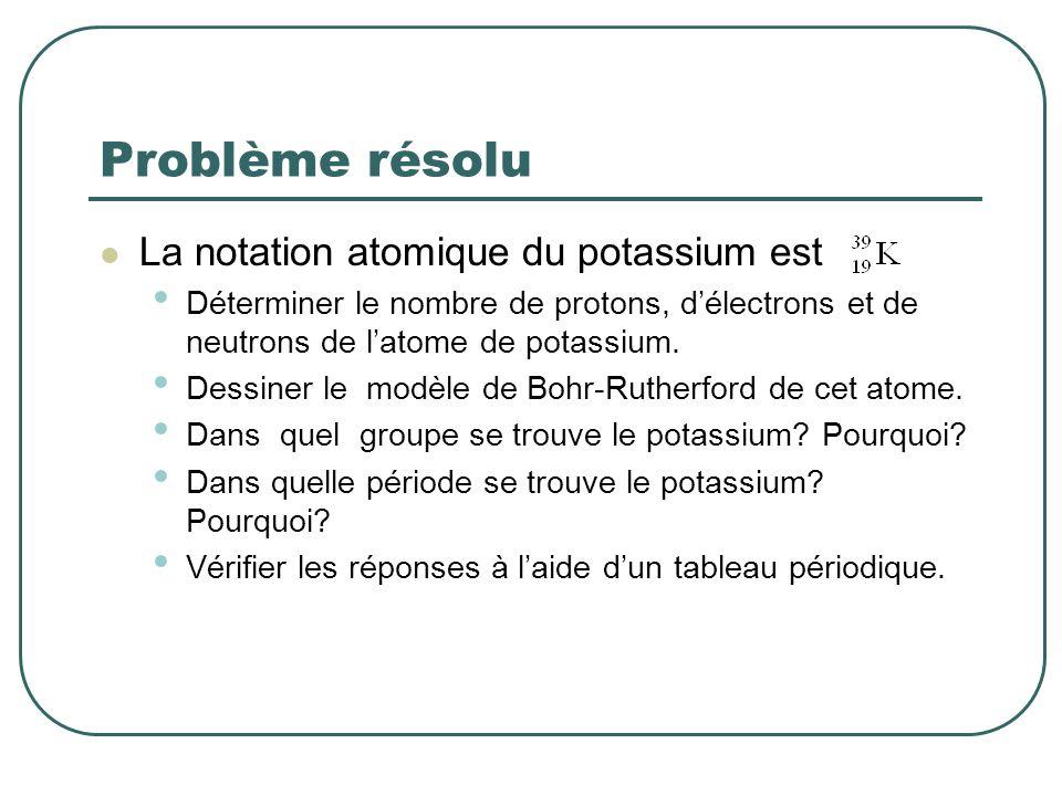 Problème résolu La notation atomique du potassium est Déterminer le nombre de protons, délectrons et de neutrons de latome de potassium. Dessiner le m