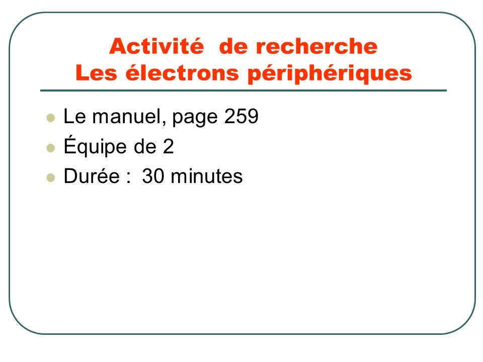 Activité de recherche Les électrons périphériques Le manuel, page 259 Équipe de 2 Durée :30 minutes