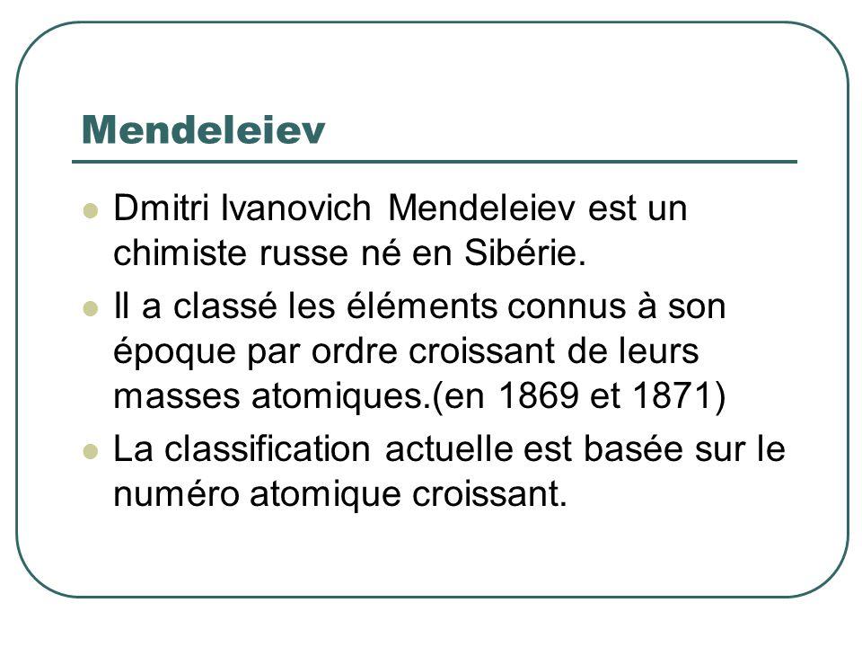 Mendeleiev Dmitri Ivanovich Mendeleiev est un chimiste russe né en Sibérie. Il a classé les éléments connus à son époque par ordre croissant de leurs