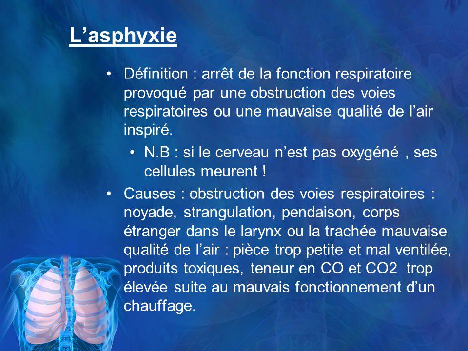 Lasphyxie Définition : arrêt de la fonction respiratoire provoqué par une obstruction des voies respiratoires ou une mauvaise qualité de lair inspiré.