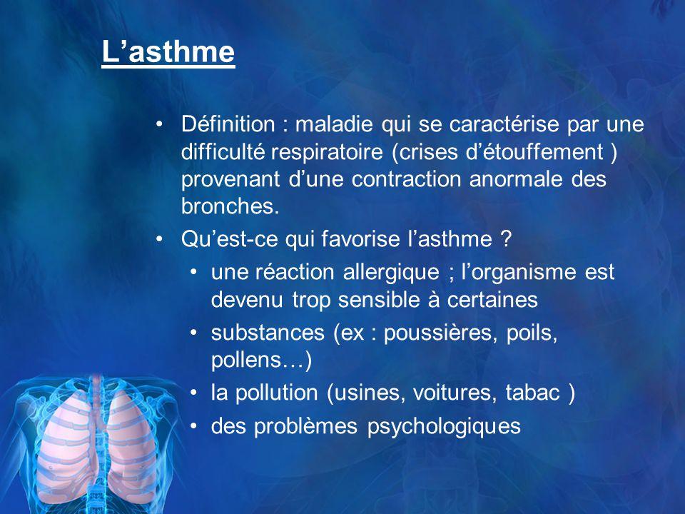 Lasthme Définition : maladie qui se caractérise par une difficulté respiratoire (crises détouffement ) provenant dune contraction anormale des bronches.