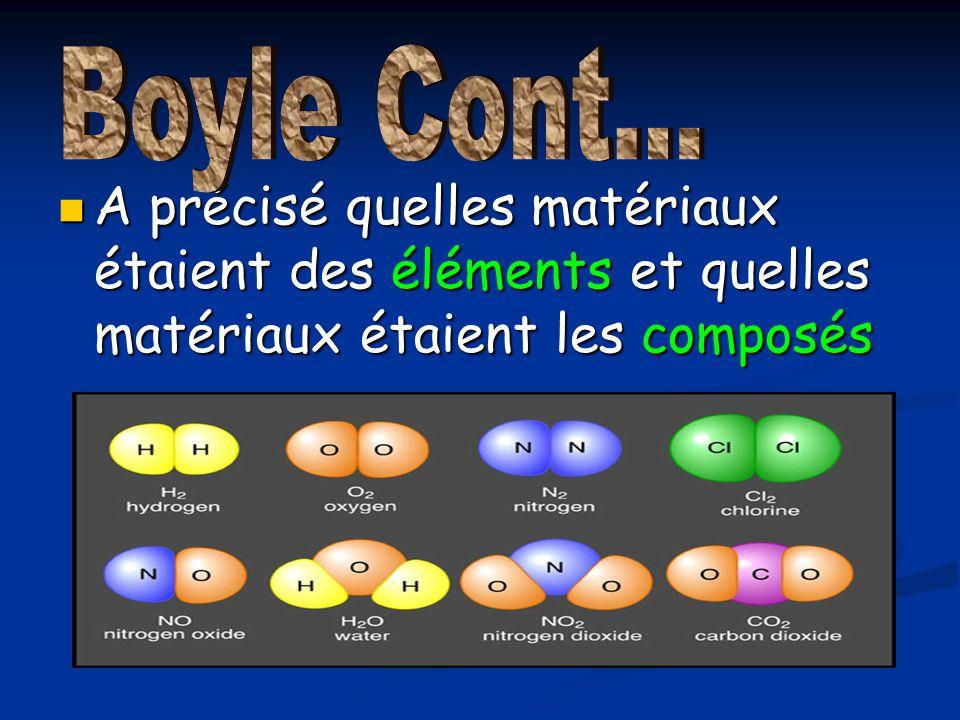A précisé quelles matériaux étaient des éléments et quelles matériaux étaient les composés A précisé quelles matériaux étaient des éléments et quelles