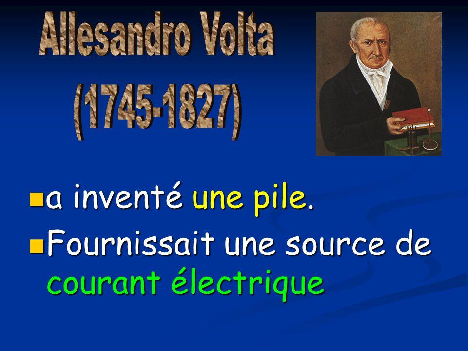 a inventé une pile. a inventé une pile. Fournissait une source de courant électrique Fournissait une source de courant électrique