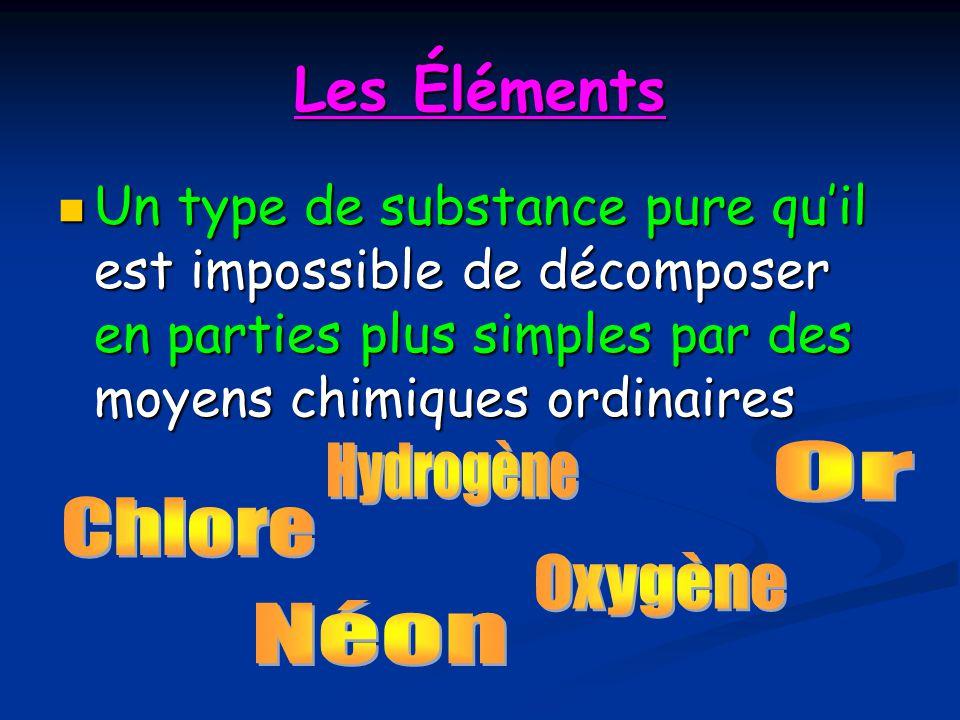 Les Éléments Un type de substance pure quil est impossible de décomposer en parties plus simples par des moyens chimiques ordinaires Un type de substa