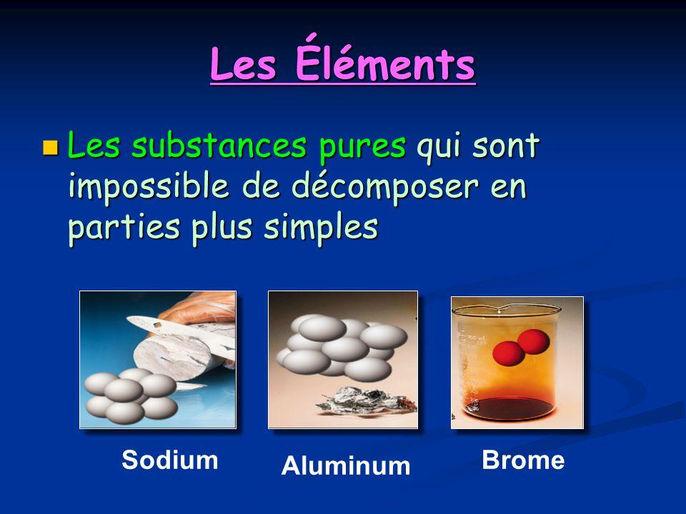 Les Éléments Les substances pures qui sont impossible de décomposer en parties plus simples Les substances pures qui sont impossible de décomposer en